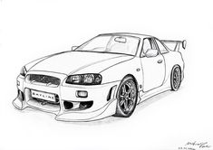 Japanese Beauty by on DeviantArt Bike Sketch, Car Sketch, Outline Pictures, Pictures To Draw, Mustang Drawing, Cool Car Drawings, Skyline Gtr R34, New Ferrari, Cars Coloring Pages