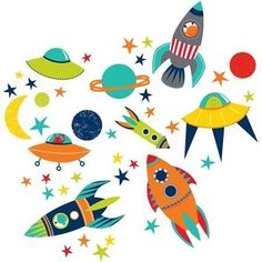 Kids Wall Art outer space kids room peel & stick wall decals | kids space themed