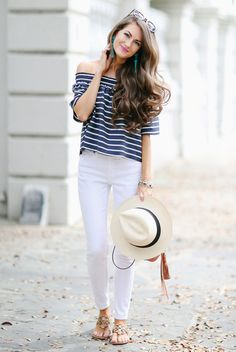 summer outfit, summer fashion, beach outfit, travel outfit, getaway outfit, navy striped off shoulder top, white skinny jeans, panama hat, black and white hat, brown shoulder bag, nude sandals, brown sunglasses