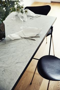 Emil Thorup Nordic interior design modern home Scandinavian home Danish home Interior inspiration Boconcept, Dining Room Inspiration, Interior Inspiration, Tile Top Tables, Nordic Living Room, Daybed Design, Nordic Interior Design, Black And White Marble, Aarhus