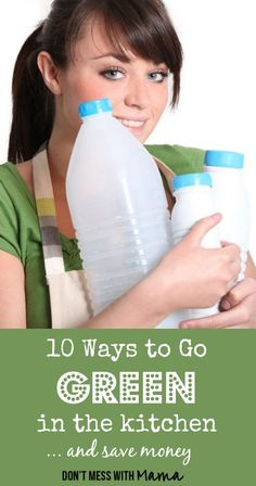 Looking for ways to cut down on waste and go green in the kitchen? I've got 10 tips on how to do it. Plus, you'll save money and help the environment along the way. Eco Friendly Cleaning Products, Natural Cleaning Products, Green Life, Go Green, Green Living Tips, Help The Environment, Nutrition, Green Kitchen, Green Cleaning
