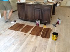 """White Oak #2 common 3 1/4"""" floors - MinWax stains from left to right: 1) 1/2 Provencial and 1/2 Special Walnut -  2) Provencial - 3) Special Walnut - 4) Dark Walnut - We chose Dark Walnut"""