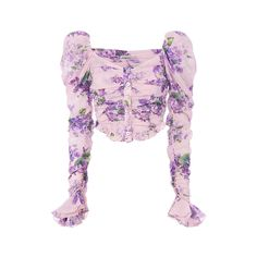 A pink and purple puffed shoulder top. This floral print, feminine top has an aesthetic that I love. Source by Crafturday Fashion outfits Cl Fashion, Fashion Outfits, Womens Fashion, Fashion Design, Fashion Trends, Floral Crop Tops, Floral Blouse, Casual Outfits, Cute Outfits