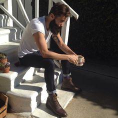 Luke Ditella - full thick dark beard and mustache beards bearded man men mens' style street boots handsome #beardsforever