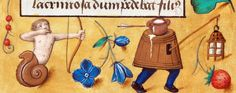 """Snail man shoots milk man.  Folia magazine titled this """"Surrealismo medievale."""" Particolare del bordo inferiore, miniatura tratta dal Libro d'Ore A28 (1500 circa), Bibliothèque publique et universitaire, Neuchâtel."""