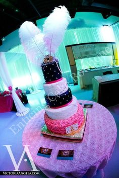 black, bling, white, sugar crystals, round, cake, feathers, brooch, pink, satin, rhinestones, tall cakes