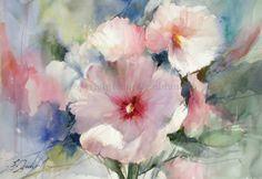 Fabio Cembranelli     Hollyhocks AW, Watercolor, 2015
