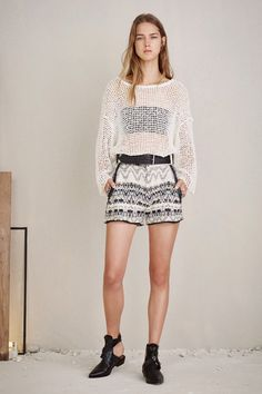 Iro | Spring 2016 Ready-to-Wear | 03 White mesh long sleeve sweater and monochrome mottled shorts