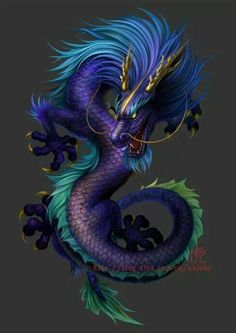 Dragon lavendar, purple, blue, teal, lime, gold