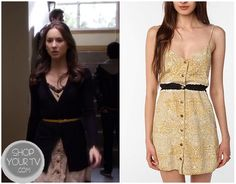 Spencer Hastings (Troian Bellisario) wears this orange print button down dress in this week's episodes of Pretty little liars