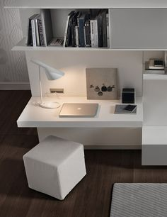 Chic workspace with a built-in desk and cube ottoman for the living room