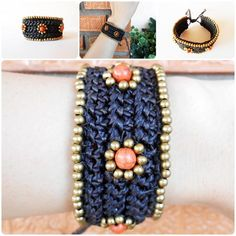 Dark Brown Waxed Cotton Cord Bracelet with Brass Beads | GoldenWorld - Jewelry on ArtFire or see more at www.goldenworld-kwk.com