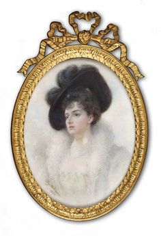 Lady in a black hat Signed and dated 1898 by Alyn Williams Miniature Portraits, Miniature Paintings, 18th Century Fashion, 19th Century, Color Studies, Watercolor Drawing, Landscape Pictures, Miniture Things, Vintage Pictures