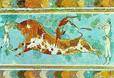 Taurocatapsia, 1500 a.C. circa, pittura parietale, da Cnosso. Oggi: Iraklion (Creta), Museo Archeologico.