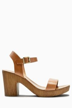 19b929086 Buy Tan Leather Wooden Platform Sandals from the Next UK online shop Hæle
