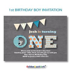 1st birthday invitation for boys