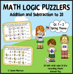 Challenge your students to become mathematical problem solvers with this fun set of 24 addition and subtraction puzzler task cards. Each card contains a set of 4 problems using pictures and numbers. The students must figure out the value of each picture. Students are using addition and subtraction within 20 to solve problems with unknowns in all positions. They are working with equations with a symbol for the unknown number to represent the problem. $