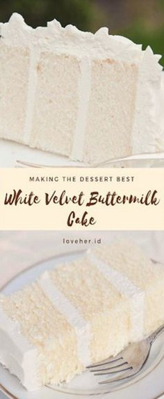 White Velvet Buttermilk Cake Recipe Whìte velvet cake gets ìt's flavor and velvety texture from buttermìlk. A moìst, tender cake that. Sweets Recipes, Just Desserts, Baking Recipes, Delicious Desserts, Yellow Desserts, Cake Recipes, Yummy Food, No Bake Treats, Yummy Treats