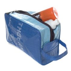 Toiletry case made from recycled rice bags that would otherwise end up in landfills.