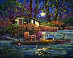 Artwork by artist Greta Guzek, represented by the West End Gallery. Canadian Painters, Canadian Artists, Graphic Art Prints, Cottage Art, Puzzle Art, Great Paintings, Dream Art, Art Themes, Beautiful Drawings