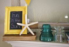 This framed chalk board is adorable. I think it would be fun to make in craft group.