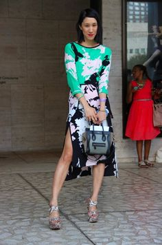 Eva Chen of Teen Vogue in the Silhouette colorblock dress