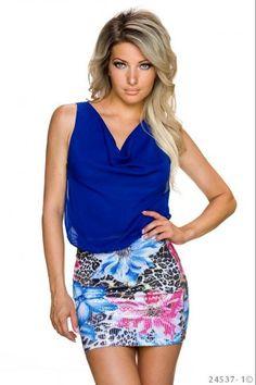 Μίνι φόρεμα με παγιέτες - Μπλε Ρουαγιάλ