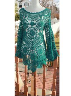 Sedoso suave Relax Fit Crochet túnica hecha por por DearAlina, $250.00