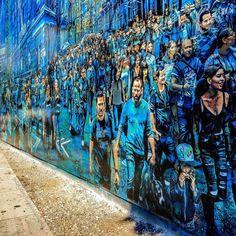 Cool street art by Logan Hicks at the Bowery Graffiti Wall in SoHo