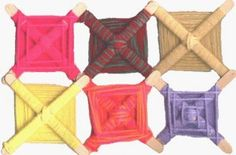 Weaving with Lolly Sticks--i was taught this as a kid multi colored and called the eye of God Popsicle Stick Crafts, Craft Stick Crafts, Yarn Crafts, Craft Sticks, Popsicle Sticks, Craft Projects For Adults, Crafts For Kids, Arts And Crafts, Art Projects