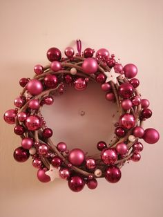 Pink/purple Christmas wreath.