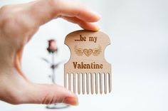 Be my Valentine Beard Comb stylish men gift Lumberjack style gift for dad moustache beard comb (9.50 USD) by MustHaveGift