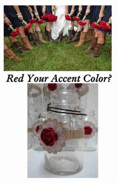 10 Mason Jar Red White & Burlap Christmas Wedding Shower Party Decorations #BurlapBrides