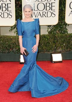 I like this Zac Posen, but I am kind of over her hair. Smurfish right?