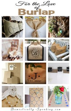 "For the Love of Burlap  Burlap decor, crafts and more - burlap is such an""in"" thing right now - some cute ideas"