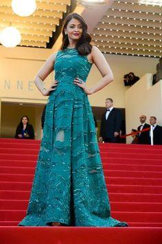"""Cannes Film Festival Fashion 2015 Aish sporting a teal green lace dress"" Posted by Preeti © Blue Mango Weddings (quote) via thebigfatindianwedding.com"