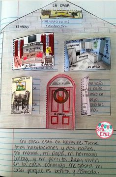 La Casa Spanish Interactive Notebook Activity 50% OFF for 24 Hours ~ Students label the rooms and furniture, write sentences behind the flaps describing what happens in each room, draw their family behind the door, and write a paragraph describing their h