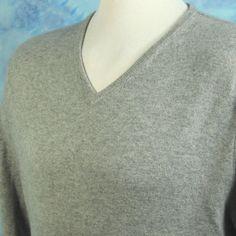 Bloomingdales Mens XXL 100% Cashmere Heathered Gray V Neck Sweater Jumper NICE #Bloomingdales #VNeck