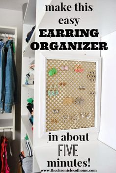 Easy earring organizer you can make at home in about five minutes