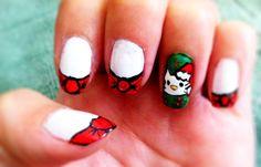Hello Kitty Christmas Nails