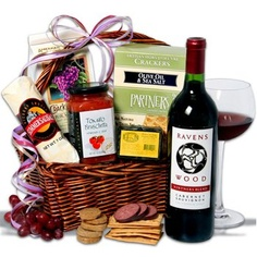 """$147.95-$147.95 Red Wine and Complementary Bites Gift Basket - This is truly one of our most universal gift baskets â?"""" great for a variety of occasions and recipients. Included in this gift basket is a bottle of Ravenswood Cabernet Sauvignon, Deli Style Crackers, Tomato Bruschetta, MRed Wine Biscuits, Wrapped Summer Sausage, and Smoked Cheese. This combination of award-winning foods and wine wa ..."""