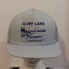 Cluff Lake Fishing Club Vintage Baseball Truckers Hat Cap Snapback by LouisandRileys on Etsy
