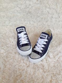 Hey, I found this really awesome Etsy listing at http://www.etsy.com/listing/158156030/navy-blue-bling-converse-adult-sizes