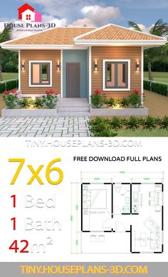 House Plans with One Bedroom Hip Roof - Tiny House Design Guest House Plans, Modern House Floor Plans, Simple House Plans, Tiny House Plans, Modern Small House Design, Small House Interior Design, Simple House Design, Tiny House Design, 3d Home