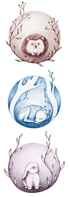 Hedgehog, Fawn & Bunny Holiday Greeting Cards on Behance