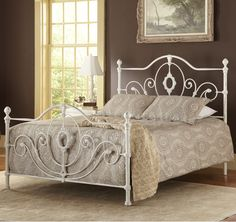Rosalyn Iron Bed in Weathered White by Largo Furniture