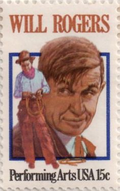 US postage stamp, 15 cent.  Will Rogers.  Performing Arts  Issued 1979.  Scott catalog 1801.
