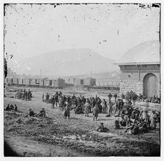Chattanooga, Tennessee. Confederate prisoners at railroad depot 1864