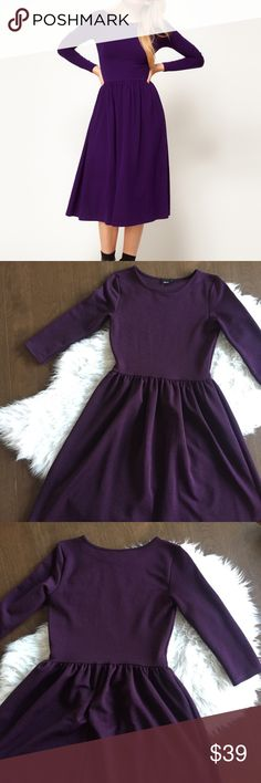 ASOS Purple Midi Dress Midi dress in a deep purple with textured fabric. Gently worn - excellent condition. ASOS Dresses Midi