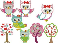 Machine Embroidery Designs | Machine embroidery design Cute Owls set of 8 Designs by malinkata